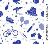 pattern with bicycle  rollers ...   Shutterstock .eps vector #1053362675