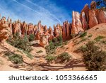 red yellow rocks in bryce... | Shutterstock . vector #1053366665