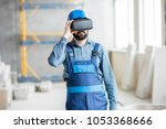 builder projecting with vr... | Shutterstock . vector #1053368666