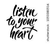 listen to your heart postcard.... | Shutterstock .eps vector #1053380516