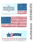 memorial day banner. remember... | Shutterstock .eps vector #1053382352