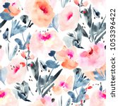 modern watercolor flowers... | Shutterstock . vector #1053396422