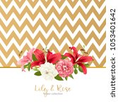 rose and lily wedding invittion.... | Shutterstock .eps vector #1053401642
