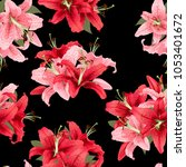 pink and red lily seamless... | Shutterstock .eps vector #1053401672