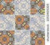 vector patchwork quilt pattern. ... | Shutterstock .eps vector #1053405305