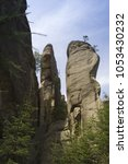 Small photo of A scenic view to the three ageless large rock formation