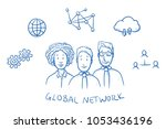 happy multi ethnic business... | Shutterstock .eps vector #1053436196