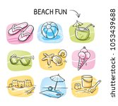 icon set summer beach holidays  ... | Shutterstock .eps vector #1053439688