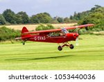 Small photo of OLD WARDEN, BEDFORDSHIRE, UK – AUGUST 6, 2017: 1961 Piper PA-18-150 Super Cub (C/N 18-7605) G-SVAS lands at Shuttleworth Airfield after towing the Slingsby Kirby Kite aloft for display.