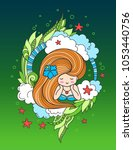 lying cute woman with long... | Shutterstock .eps vector #1053440756