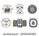 vintage hand drawn camp badge... | Shutterstock . vector #1053446585