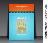 summer beach party flyer vector ... | Shutterstock .eps vector #105344906
