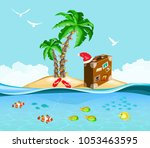 christmas on a tropical island  ... | Shutterstock . vector #1053463595