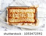 home baked fat free apple cake  ...   Shutterstock . vector #1053472592