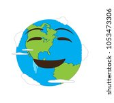 happy earth emote. earth day | Shutterstock .eps vector #1053473306