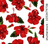 hibiscus pattern. watercolor... | Shutterstock . vector #1053479738