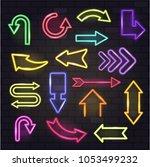 neon arrow vector glowing... | Shutterstock .eps vector #1053499232