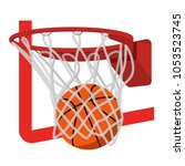basketball ring with ball... | Shutterstock .eps vector #1053523745