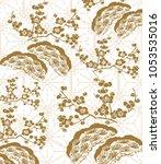 gold cherry blossom pattern... | Shutterstock .eps vector #1053535016