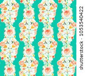 painted watercolor paisley... | Shutterstock . vector #1053540422
