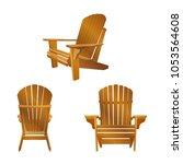 garden outdoor wooden chair....   Shutterstock .eps vector #1053564608