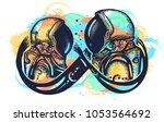romantic symbol of eternal love ... | Shutterstock .eps vector #1053564692