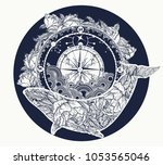 whale and compass tattoo and t...   Shutterstock .eps vector #1053565046