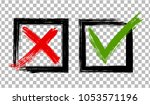 symbolic red x and green ok... | Shutterstock .eps vector #1053571196