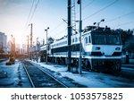 train in the locomotive station | Shutterstock . vector #1053575825