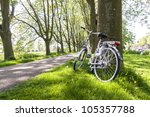 Bicycle Leaning Against Tree In ...