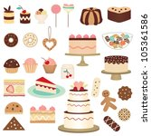 colorful pastry collection | Shutterstock .eps vector #105361586