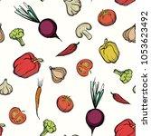 vegetables seamless pattern.... | Shutterstock .eps vector #1053623492