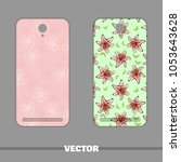 set of covers with flowers for...   Shutterstock .eps vector #1053643628