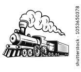 retro train illustration... | Shutterstock .eps vector #1053650378