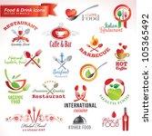 set of food and drink vector... | Shutterstock .eps vector #105365492