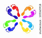 Colourful Human Foot Prints On...