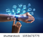 close up female hand with... | Shutterstock . vector #1053673775