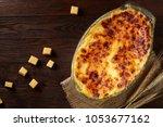 traditional italian lasagna... | Shutterstock . vector #1053677162