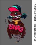 hip hop poster with dog. rap... | Shutterstock .eps vector #1053691592