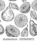 seamless pattern with sketch... | Shutterstock .eps vector #1053693872