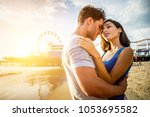 couple of lovers on a romantic... | Shutterstock . vector #1053695582