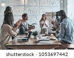 collaboration is a key to best...   Shutterstock . vector #1053697442