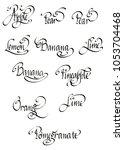 a hand written set of words of... | Shutterstock . vector #1053704468