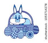 duo color rabbit animal inside... | Shutterstock .eps vector #1053714278