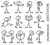 cartoon hand drawn stick man in ... | Shutterstock . vector #1053719198