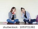 teenagers women gossip... | Shutterstock . vector #1053721382