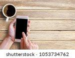 mockup image of female hand... | Shutterstock . vector #1053734762