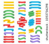 retro text ribbon banners in... | Shutterstock . vector #1053736298