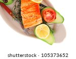 food  grilled salmon on big... | Shutterstock . vector #105373652