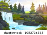 vector waterfall in the... | Shutterstock .eps vector #1053736865